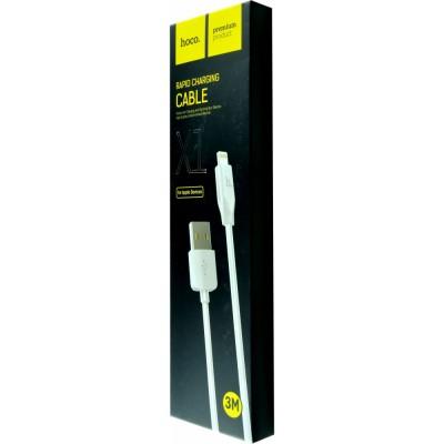 Дата-кабель Hoco X1 Rapid Lightning 3м (Белый)